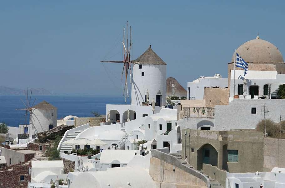 Cidade de Oia - Nas Ilhas de Santorini, na Grécia (7×5)