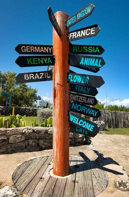 Guidepost at North Point - Barbados - Germany, Kenya, Brazil, United Kingdom, France, Norway, Switzerland... signpost for tourists (5×7)