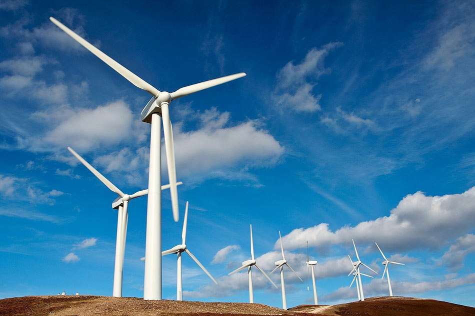 Wind turbines farm - A wind turbine is a machine for converting the kinetic energy in wind into mechanical energy. Wind power extracts electricity from the flow of air over the surface of the earth (12×8)