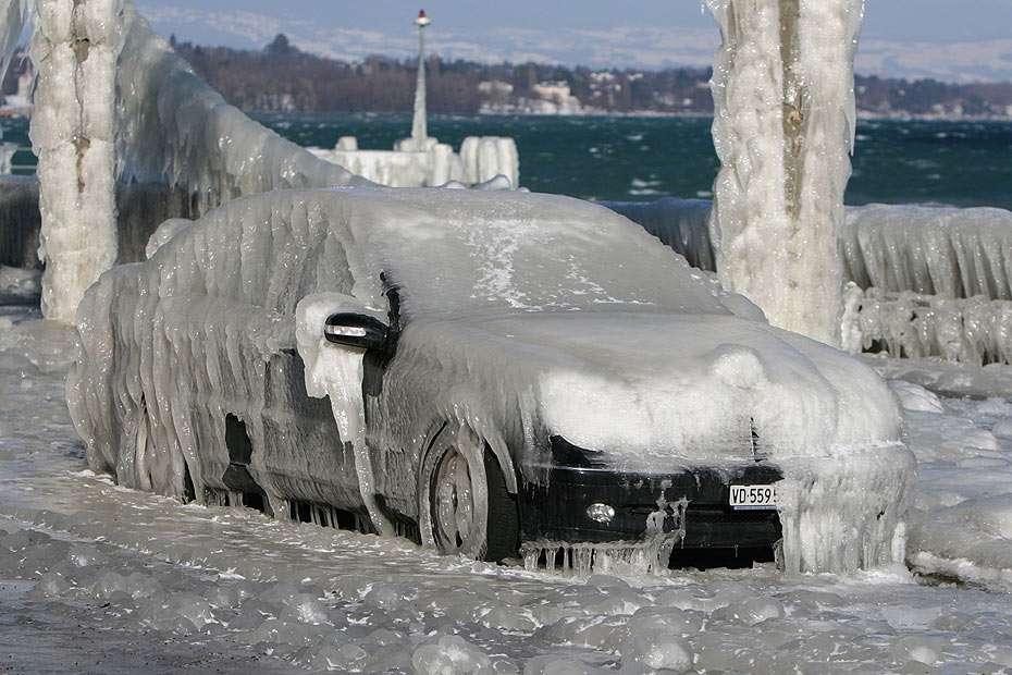 Icy Car at Lake Léman (Switzerland)