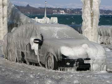 Icy Car at Lake Léman (Switzerland)
