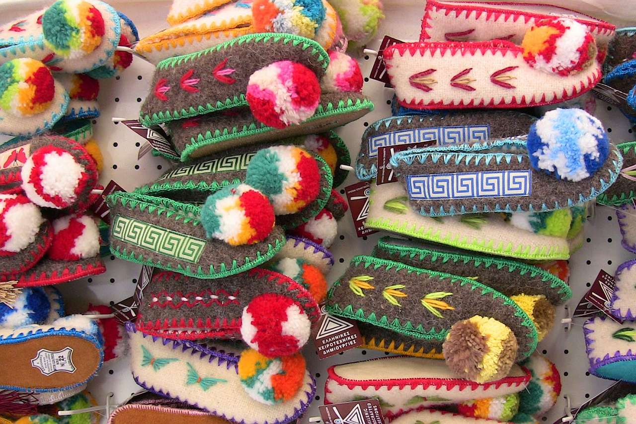 Colorful Slippers - Colorful slippers at the market in Lindos on the Rhodos Island (Greece) (15×10)