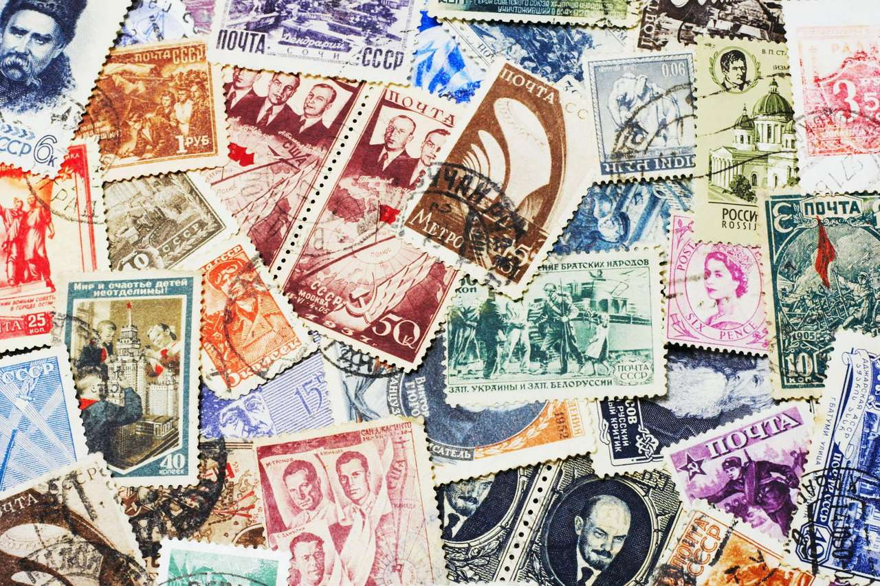 Soviet postal stamps - Collection of postal stamps from Soviet Union. The Soviet Union was a constitutionally socialist state that existed from 1922 to 1991 in Asia and Europe (27×18)