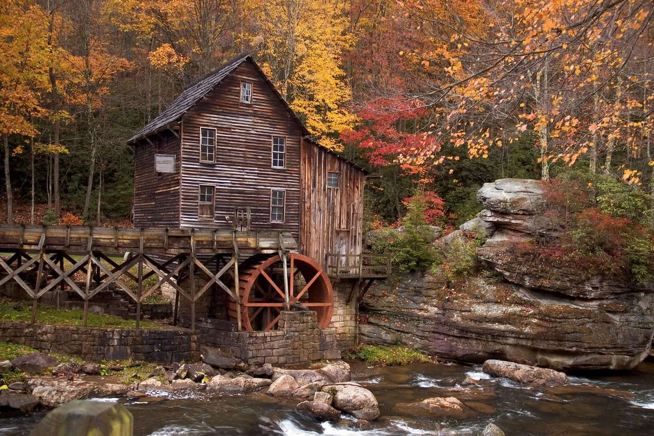 The Glade Creek Grist Mill - The Glade Creek Grist Mill is a new mill that was completed in 1976 at Babcock State Park. It is located in West Virginia, USA. The Glade Creek Grist Mill is a replica of the original Cooper's Mill th (20×13)