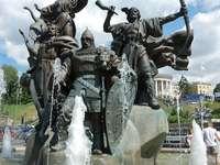 Monument to founders of Kiev (Ukraine)
