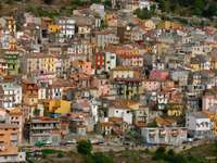 Pastel houses in Seui (Italy)