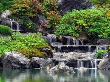Waterfall at a Japanese Garden