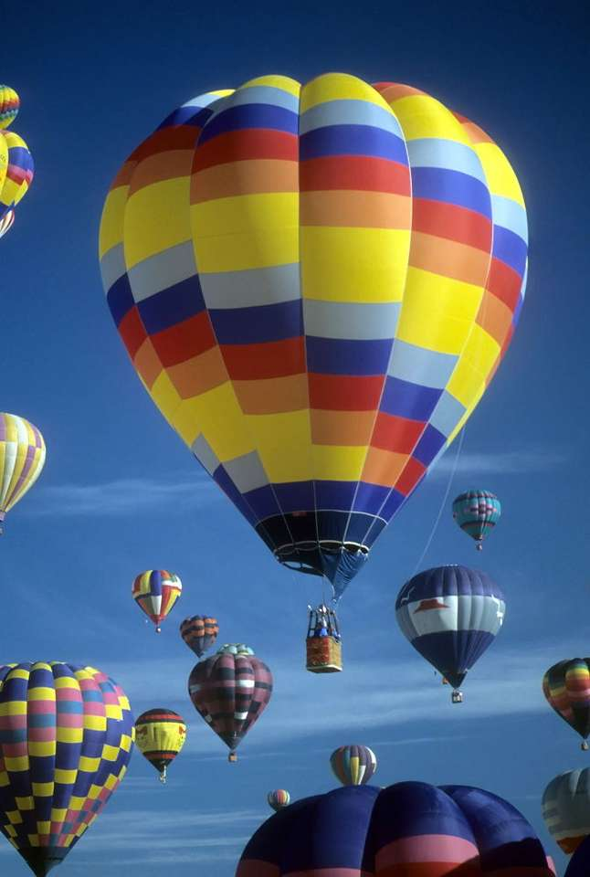Hot air baloons - Hot air balloons during International Balloon Festival in Albuquerque, New Mexico. The hot air balloon was the oldest human flight technology (6×9)