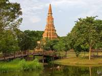 The old temple in Ayutthaya (Thailand)