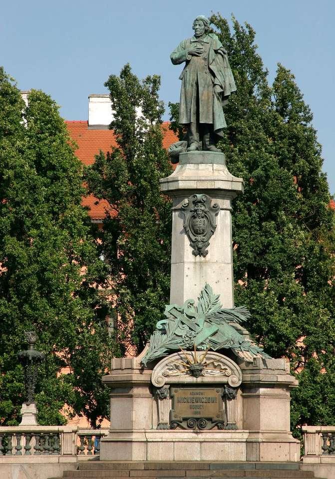 Monument för Mickiewicz i Warszawa (Polen)