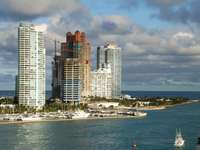 Apartment buildings by the harbor (USA)