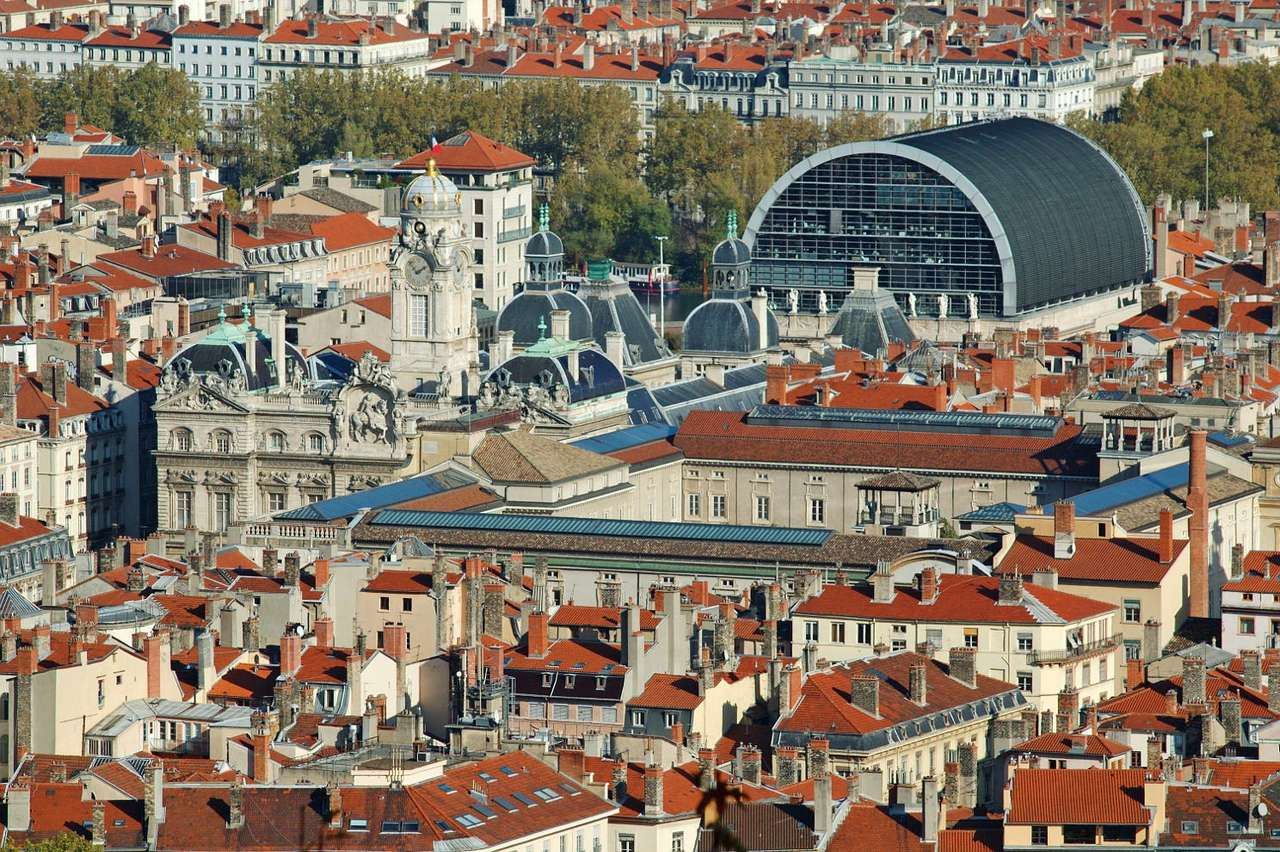 Lyon (France) - Lyon view with the prominent 17th century town hall and neoclassicism opera house built in the first part of 19th century. Lyon is the third largest city of France (after Paris and Marseille). The his (16×11)