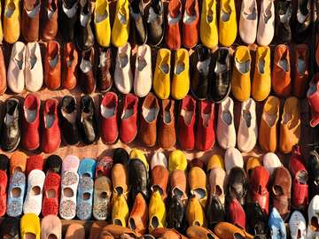 Colorful shoes for sale in Marrakesh
