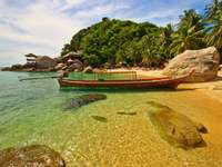 """""""Long-tail"""" type boat in Thailand"""