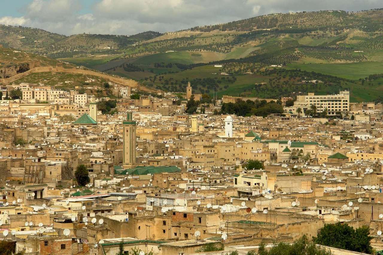 Fes (Morocco) - Fez is one of the cities in Morocco, established in 8th century as the first capital of the country. Fez is picturesquely located in the mountain valley. There are many interesting objects in the city (12×8)