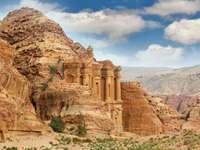 Monastery in ruins of Petra (Jordan)