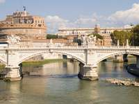 St Angel Bridge and Castle in Rome (Italy)