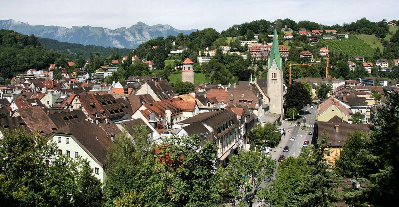 Feldkirch Panorama (Austria) - Feldkirch is a town in Austria, located near the Swiss border, at the foot of the Austrian Alps. The town is the seat of many state and regional institutions. Feldkirch is a great tourist attraction o (14×7)