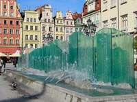Brunnen auf dem Breslauer Marktplatz (Polen)