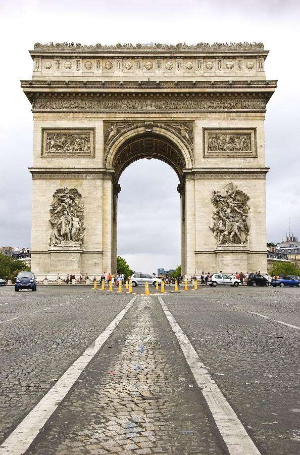 View of Arc de Triomphe from the Avenue des Champs-Élysées (France) - Paris Arc de Triomphe, seen from the Avenue des Champs-Élysées - the main avenue of the city is truly impressive. A large, over 50-meter construction, situated in the center of the Place Charles de (6×9)