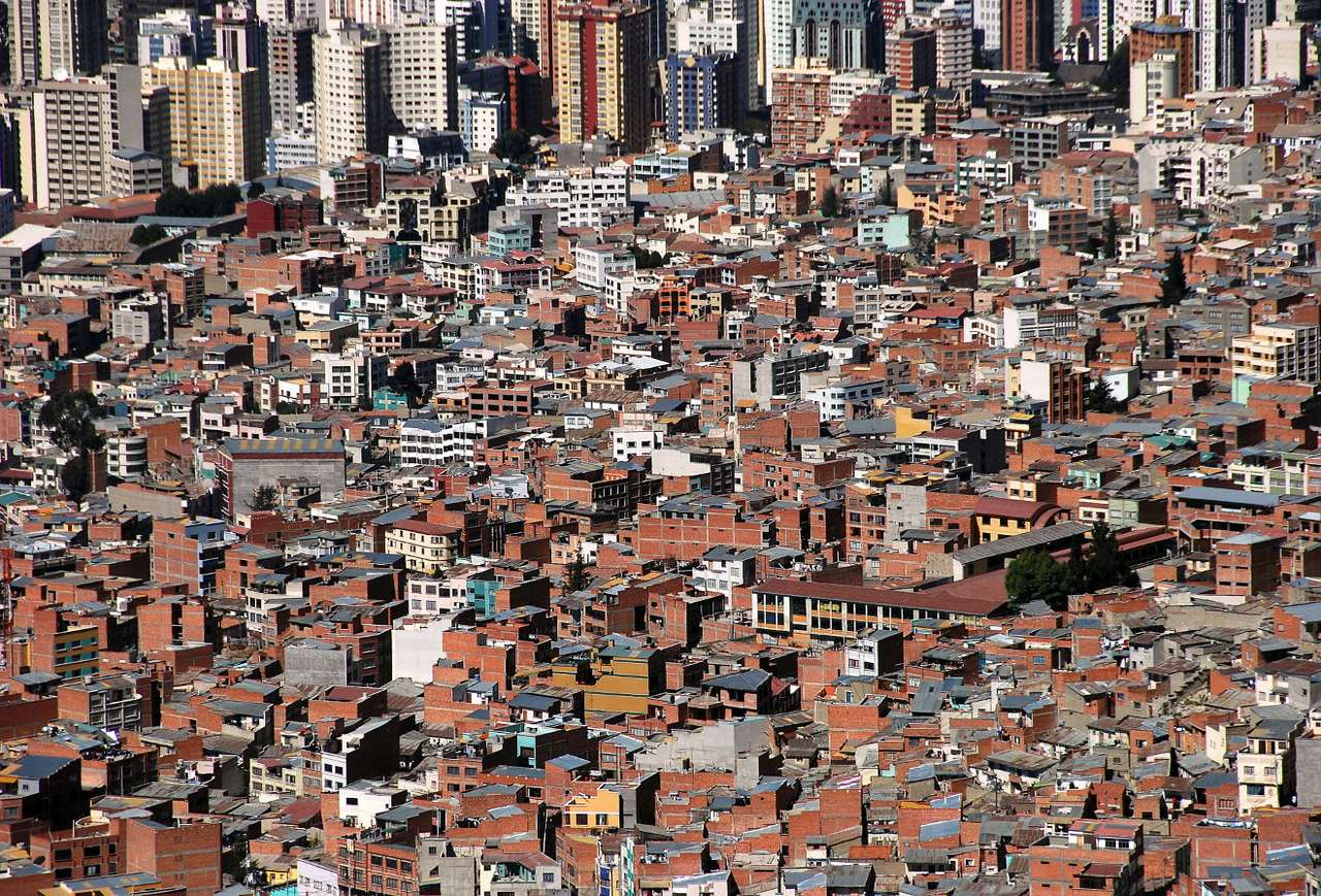 View on La Paz (Bolivia) - La Paz is the city in Bolivia, in which the Bolivian government has its seat. La Paz is inhabited by over a million people, and together with the El Alto suburb - 2 million. The city is located at the (22×14)
