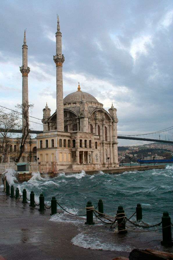 "Ortakoy Mosque in Istanbul (Turkey) - Ortakoy means literarily a ""village inside"". The Ortakoy mosque is located on the coast of the city of Istanbul. The building was erected in the 19th century, however, the exact date is unknown. The m (5×7)"