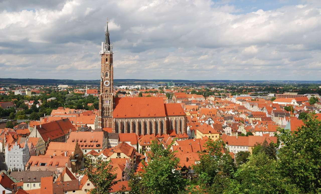 """Landshut panorama with St. Martin's church (Germany) - Landshut is a German city located in Bavaria on the river Isar. Its name can be translated literally as """"the land protector"""", however, it is called more often """"the city of three helmets"""", which are th (10×6)"""