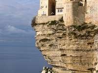 Houses on a cliff in Bonifacio on Corsica (France)