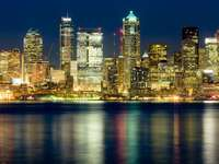 Panorama of Seattle at night (United States)