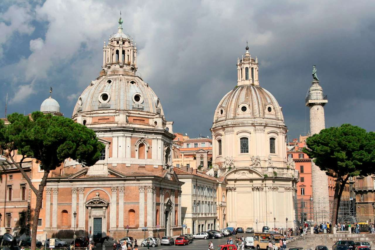 Centre of Rome by the Trajan's Forum (Italy) - Trajan's Forum is located between two hills – Capitoline and Quirinal. Today, apart from ancient ruins with the Trajan's Column in the foreground, there are also two churches: the Church of Our (9×6)