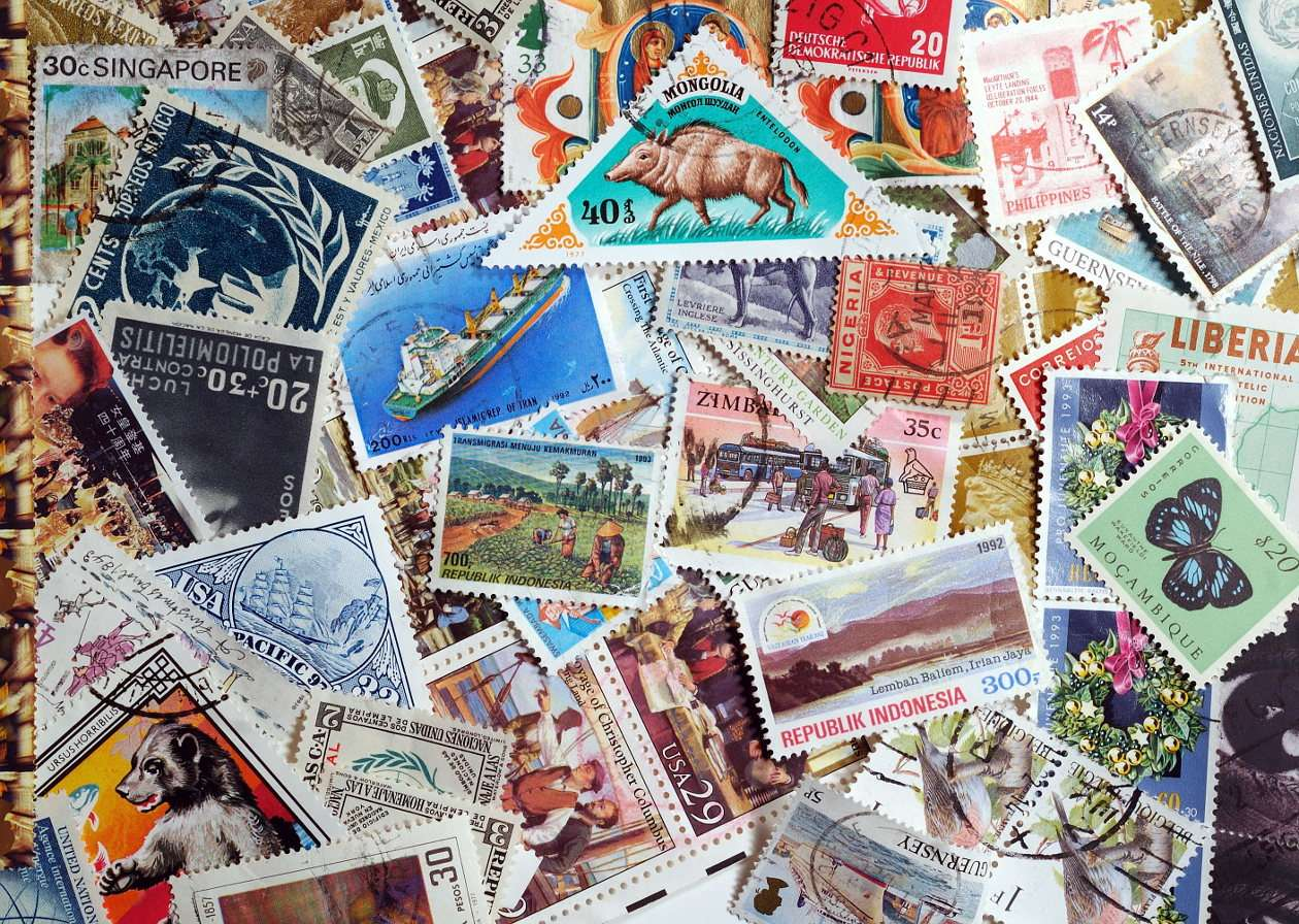 Collection of post stamps from all over the world - Passion of collecting post stamps has lasted uninterruptedly since the middle of 19th century, when the first post stamp was issued in Great Britain. Today it is perhaps one of the most popular hobbie (20×14)