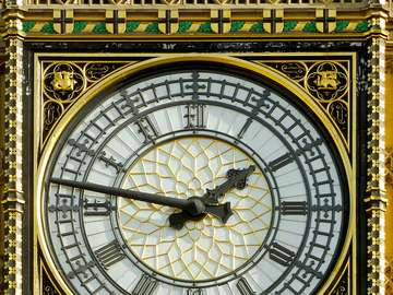 Clock on the Big Ben Tower in London (Great Britain)