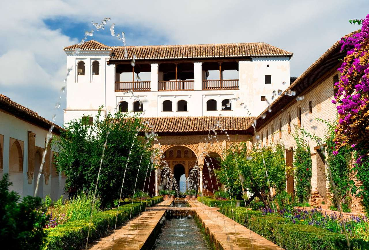 """Courtyard of Alhambra fortress (Spain) - The Alhambra fortress in Granada belonged to Mauritanian caliphs. Its name comes from Arabic and means """"red"""". It was built in 13th century and in the next century it was expanded. It is a palace w (8×6)"""