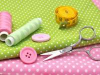 Sewing items on colorful fabrics