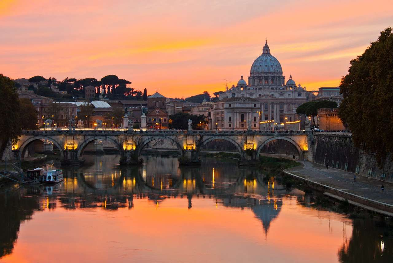 Panorama of Rome with St. Peter's Basilica (Italy)
