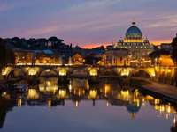 Panorama of Rome after sunset (Italy)