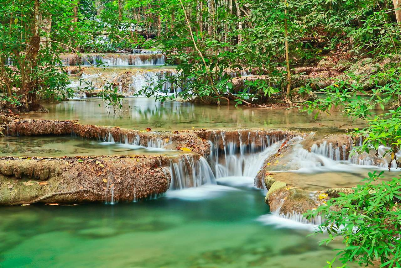 Waterfall at Kanchanaburi (Thailand) - Kanchanaburi is the name of the Thai province located near the western border of the country. The Erawan waterfalls are one of the biggest natural tourist attractions of the region as they are known a (11×8)