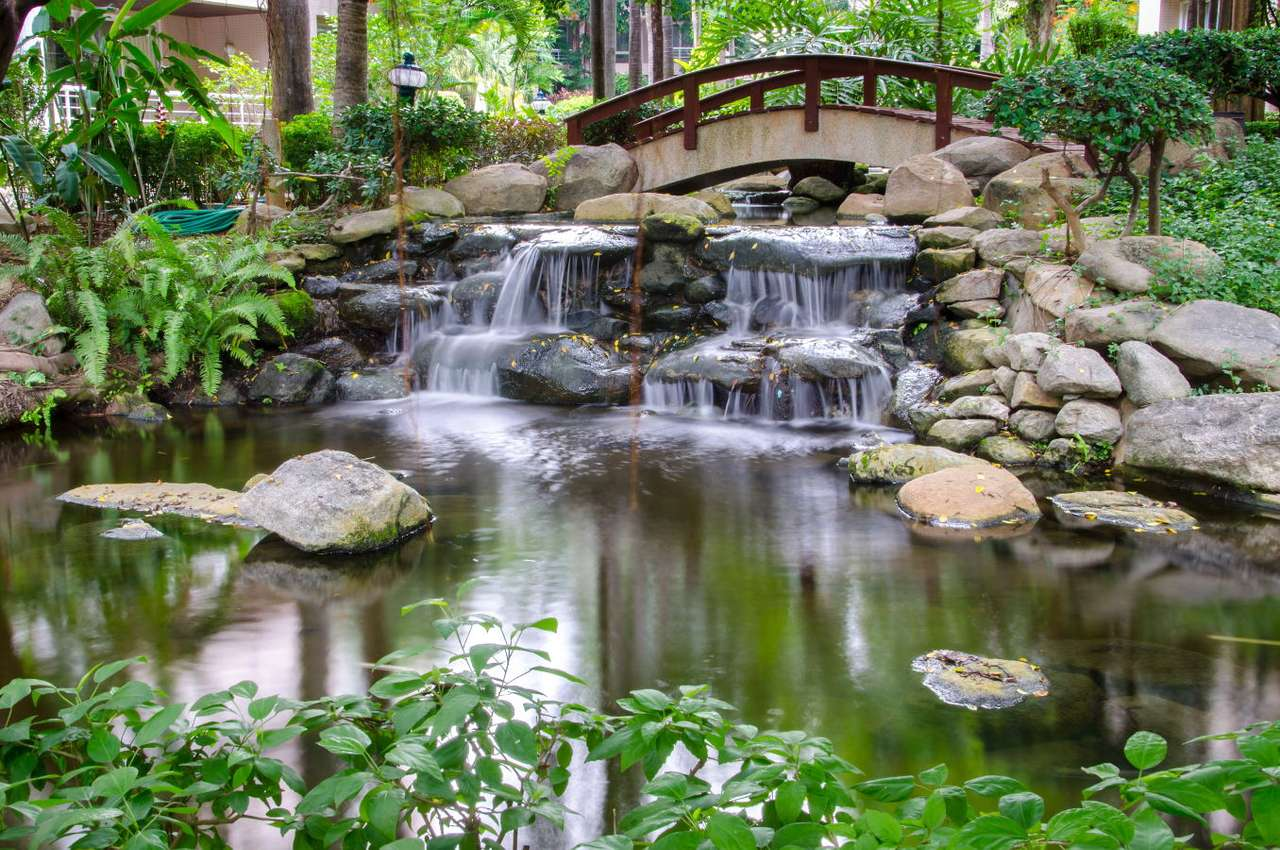 Japanese garden - Asian style garden is meant to present the symbolic domination of nature over people and their civilization. Tsukiyama-niwa is a kind of the Japanese garden and it is a miniature version of the world (12×9)