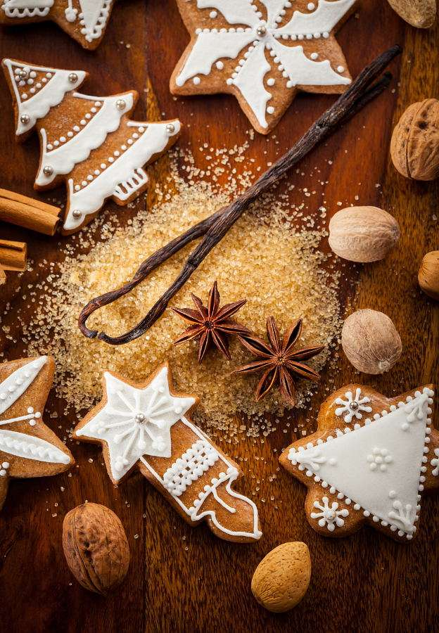 Christmas gingerbread - In many countries Christmas is the time when people bake crisp spicy cookies in various shapes that refer to Christmas. They are nicely decorated with frosting, sprinkle and other confectionaries deta (8×10)