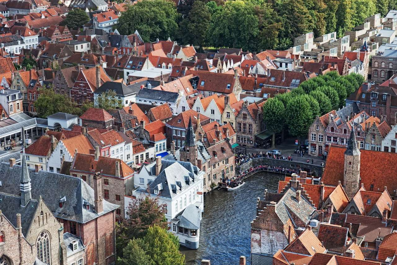 Pohled z Brugg (Belgie) z ptačí perspektivy puzzle from photo