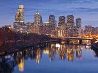 Panorama of Philadelphia at twilight (USA)