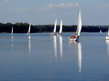 Yachts on Jeziorak Lake (Poland)