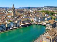 Bird's-eye view of Zurich (Switzerland)