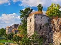 Ruins of the Wall of Constantinople in Istanbul (Turkey)