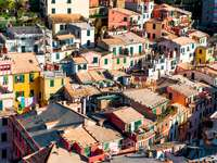 Bird's-eye view of the town of Vernazza (Italy)