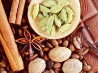 Composition of aromatic spices, coffee beans and chocolate