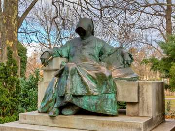 Statue of Gallus Anonymus in Budapest (Hungary)