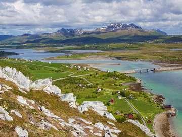 Green panorama of Lofoten Islands (Norway)
