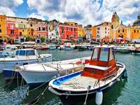 Port on the island of Procida (Italy)