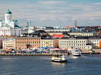 Panorama of Helsinki with the view of the cathedral (Finland)